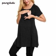 Poung dudu платье для беременных женщин платье с круглым вырезом и короткими рукавами в полоску платье для кормящих Amazon Explosion
