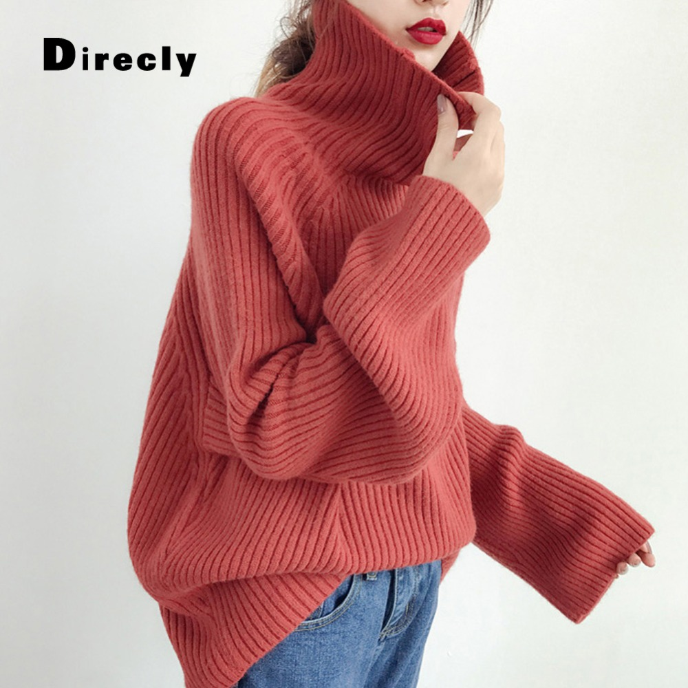 Pullovers Sporting Direcly2018 New Autumn And Winter Womens Sweaters And Pullovers Fashion Lamp Sleeves Knit Sweater Womens Black Loose Sweater