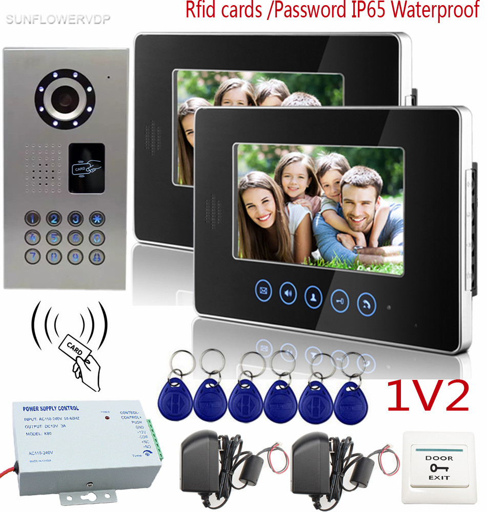 SUNFLOWERVDP Video Intercom IP65 Waterproof Rfid Password CCD 700TVL Door Bell Camera Touch Keys 7 Color Monitor Video Dor Bell sunflowervdp fingerprint door phone ip65 waterproof ccd 700tvl camera intercom with screen 7inch hd color images system unit 1v3