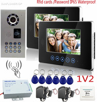 SUNFLOWERVDP Video Intercom IP65 Waterproof Rfid Password CCD 700TVL Door Bell Camera Touch Keys 7 Color