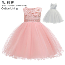 Free Shipping Cotton Lining 3-10 Years Child Party Dress 2019 New Style Pink Flower Girl Dresses For Weddings Kids Evening Gowns