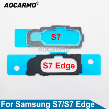 Aocarmo Touch ID Fingerprint Home Button Key Adhesive Gasket Bracket Mat With Sticker For Samsung Galaxy S7 Edge GM-G935