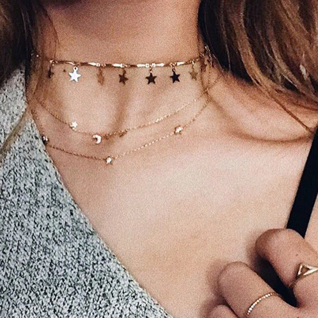 Dainty Gold Color Chain Tiny Star Choker Necklace for Women Bijou Necklaces Pend
