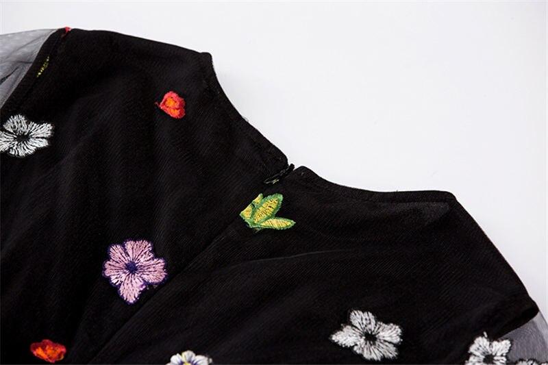 HTB1Iw.hiZLJ8KJjy0Fnq6AFDpXat - 2018 Spring High Quality Mesh Floral Embroidery Long Dress Full Sleeve Vintage Flower Black Runway Designer Maxi Women Desses