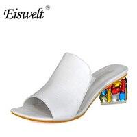 Eiswelt Rhinestone Peep Toe Wedge Slides Shoes Woman High Heels Sandals ZJF10