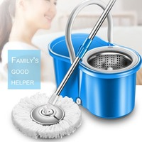 Practical Home Use Magic Floor Cleaning Mop 360 Degree Rolling Spin Self Wring Fiber Cotton Head Floor Mop Set