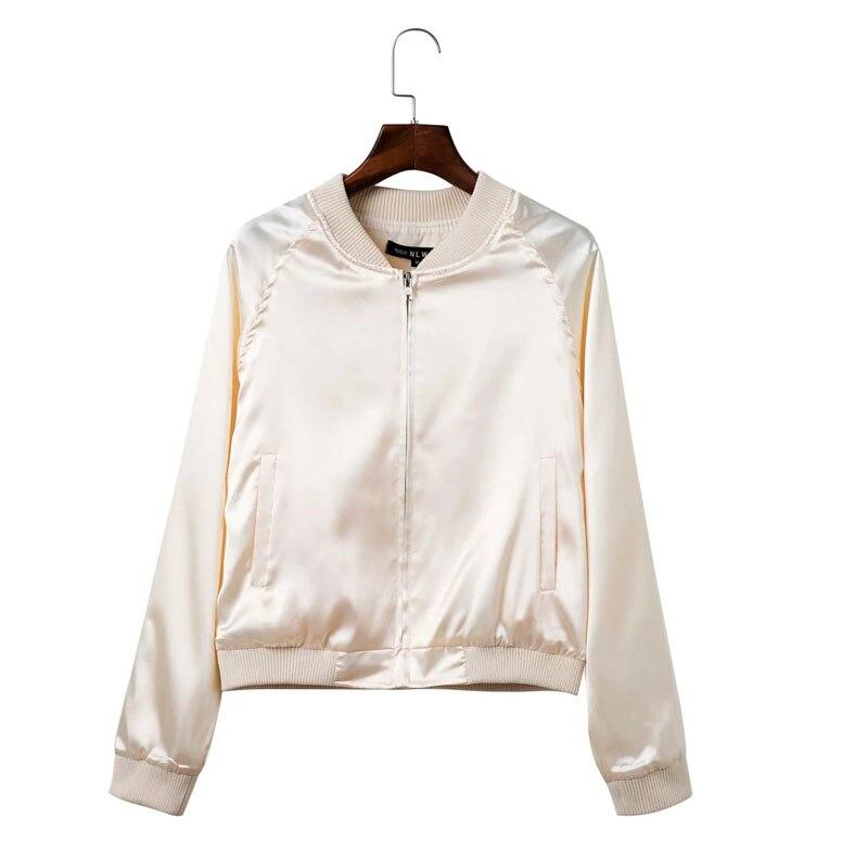 Nuevo  Otoño Sólido Satén de La Cremallera Mujeres Bomber Jacket Coats Corto Del