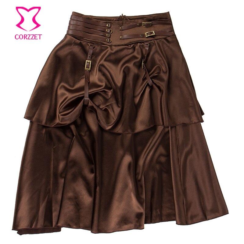 Vintage Brown Layered Satin Gothic Կիսաշրջազգեստ - Կանացի հագուստ - Լուսանկար 4