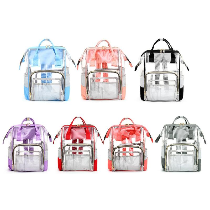 Transparent Mommy Travel Backpacks Big PVC Maternity Nappy Top-handle Bags