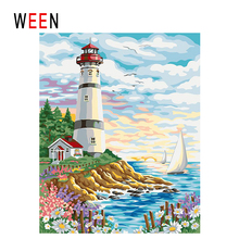 WEEN Lighthouse Diy Painting By Numbers Abstract Sunrise Ocean Oil On Canvas Boat Cuadros Decoracion Acrylic Home Decor
