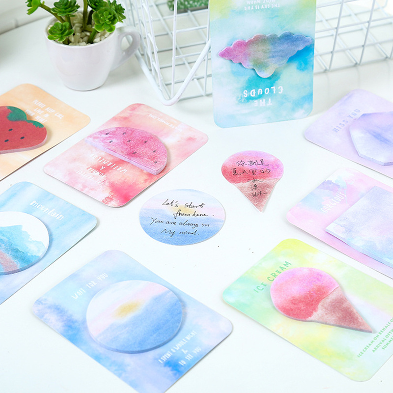 48 pcs/Lot Watercolor Geometric sticky note Color memo pad Guestbook Post Office agenda diary sticker School supplies A6952
