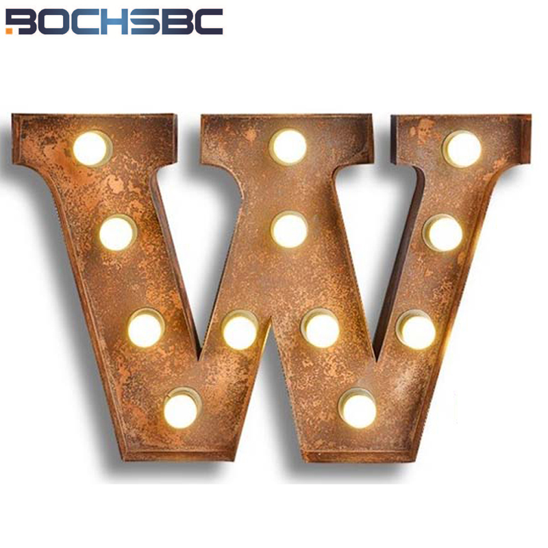 BOCHSBC Metal Alphabet Sconces Letters W Lights Vintage American Personality Study Iron Wall Lamps for Bar Cafe Billboar lampara
