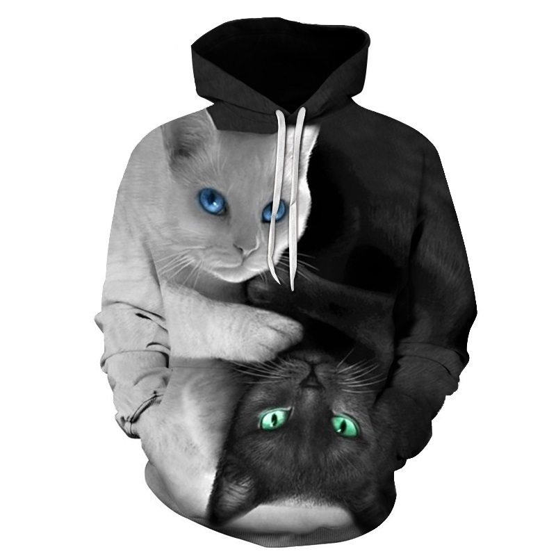 цена ONSEME Cute YinYang Cat 3D Hoodies Galaxy Cats Prints Hooded Sweatshirt Cool Wolf/Lions/Tiger Hoodie Pullovers Drop Ship