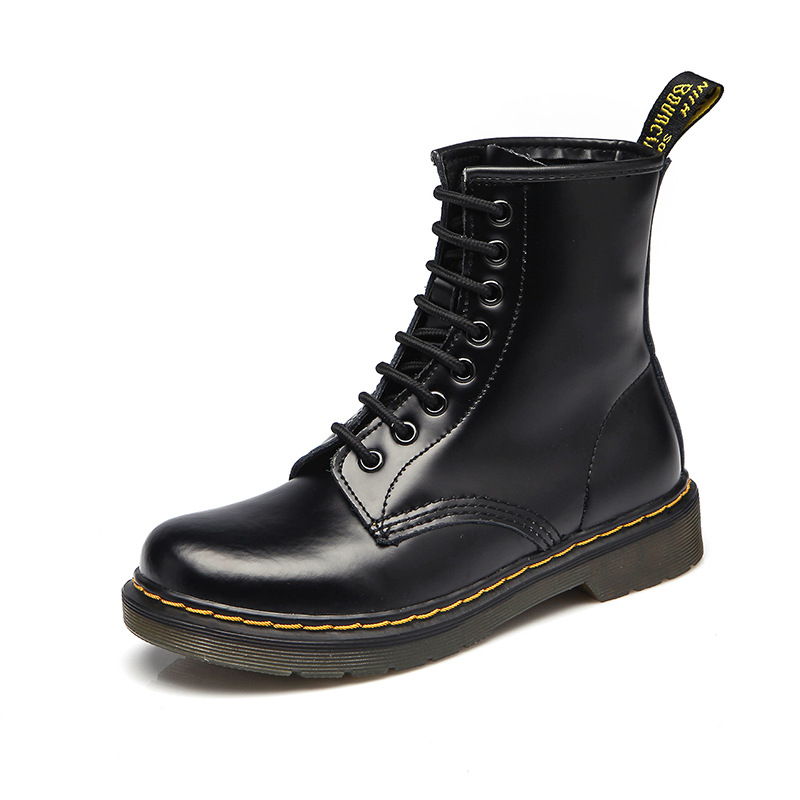 2018 Top quality Genuine Leather Women Boots Dr Martin boots shoes High Top Motorcycle Autumn Winter shoes woman snow Boots A397 new 2017 autumn winter women genuine leather boots unisex martin boots motorcycle retro shoes high quality plus size 35 44