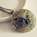 1 x Occident Retro Vintage Crystal Charms Blue Eye Owl Round Box Opening Locket Pendant Sweater Necklace for women Free Shipping