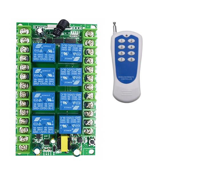 AC220V 8CH Contrôleur Radio RF Télécommande Sans Fil Commutateur Émetteur + Récepteur pour applicance porte de garage led