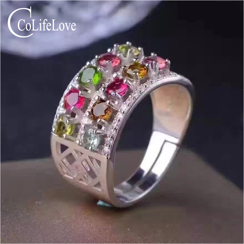 Pure 925 silver wide ring with tourmaline 10 pcs natural multicolor color tourmaline ring sterling silver