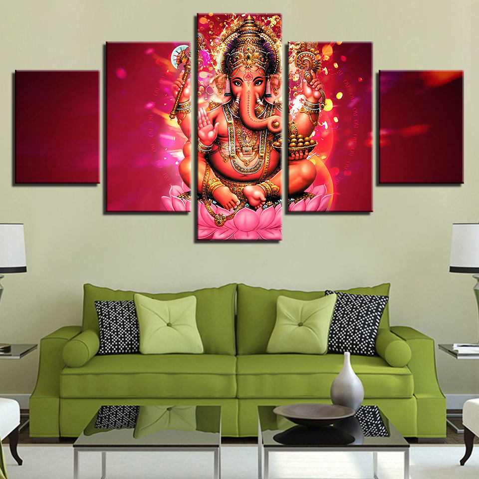 Modular Elephant Picture Wall Art Home 5 Panel Lord Ganesha Canvas Painting Decoration For Living Room Modern Printing Type