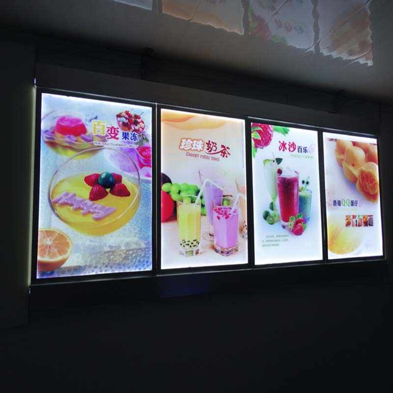 (4 Graphics/column) Single Sided Lighted Menu Boards,Backlit Menu Display for Hotel,Restaurant,Cafe Store