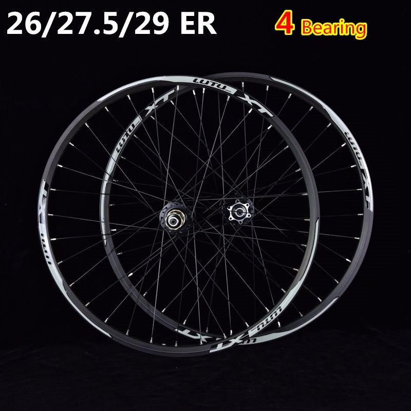 Paire de roues vtt vélo de montagne CNC avant 2 arrière 4 roulements scellés roues à disque 26 27.5 29 ER jante