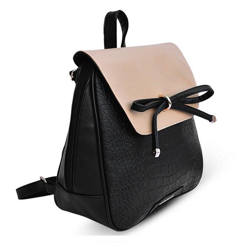 TEXU Female bag Pu leather bow crocodile pattern Backpacks For Teenage Girls Women shoulder bags School Backpack