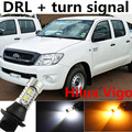 Para toyota Hilux Vigo 2006-2014 acessórios DRL Daytime Running Light & Turn Signal Luz Xenon Branco + Âmbar frete grátis