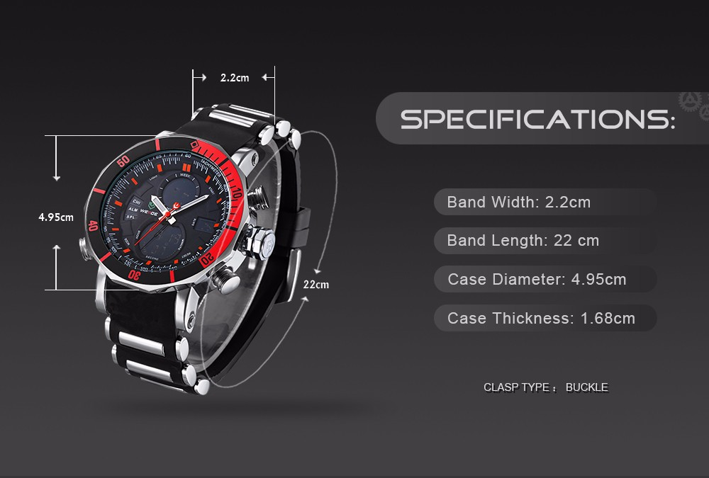 Weide WH5203 Watch Analog LCD Dual Time Red