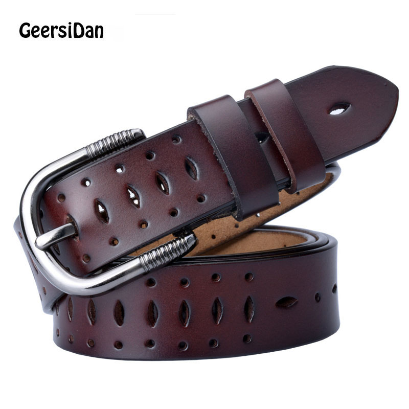GEERSIDAN 2018 Good Women belts cow genuine leather pin buckle vintage style top quality newest luxury female strap original