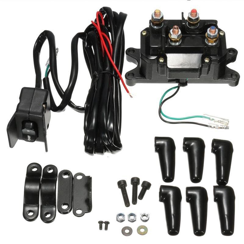 Universal 12V ATV UTV Solenoid Relay Contactor +Winch Rocker Thumb Switch Wiring Combo