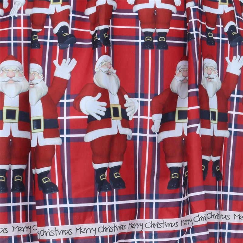 d1601060a1fc ... Winter Dress 2018 Women Casual Vintage Christmas Plaid Santa Claus  Sheer Printed Lace Insert Swing Dress ...
