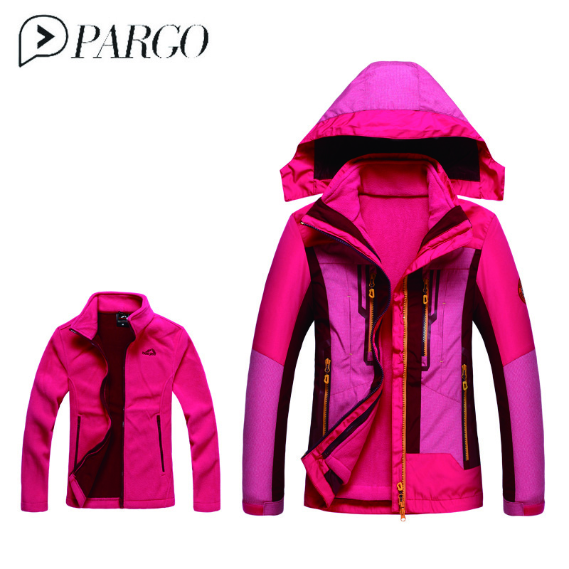 PARGO Women's Winter 2 pieces Softshell Inner Fleece Jackets Outdoor Sports Waterproof Thermal Hiking Skiing Female Brand Coats стоимость