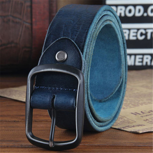 2017 Cowhide Genuine Leather Belts men brand Strap male pin buckle fancy vintage jeans strap Designers high quality Width 3.5CM
