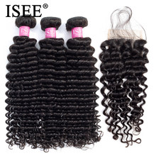 Deep Wave Bundles With Closure ISEE Hair With Closure Human Hair Bundles With Closure Brazilian Hair Weave Bundles With Closure(China)