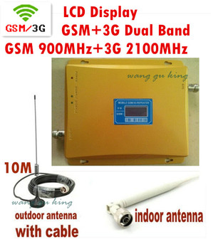 dual band 2G 3G LCD Signal booster GSM 900 3G GSM 2100 Mobile Phone Booster Amplifier 3G GSM Repeater antenna