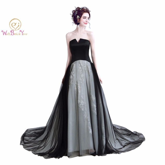 Walk Beside You Black and Gray Evening Dresses Contrast Color Long  Strapless Lace Vestido De Fiesta Largo Elegantes De Gala 11496b5a234c