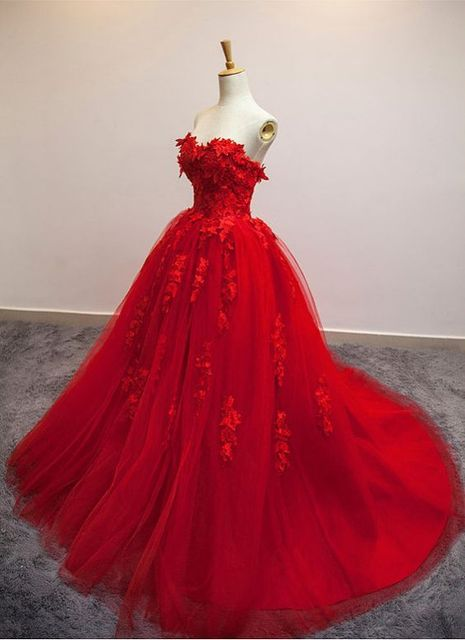 Viamns Hot Sweetheart Strapless Ball Gown Red Wedding Dress with Applique  korean wedding dress Lace Up e5d34155111f