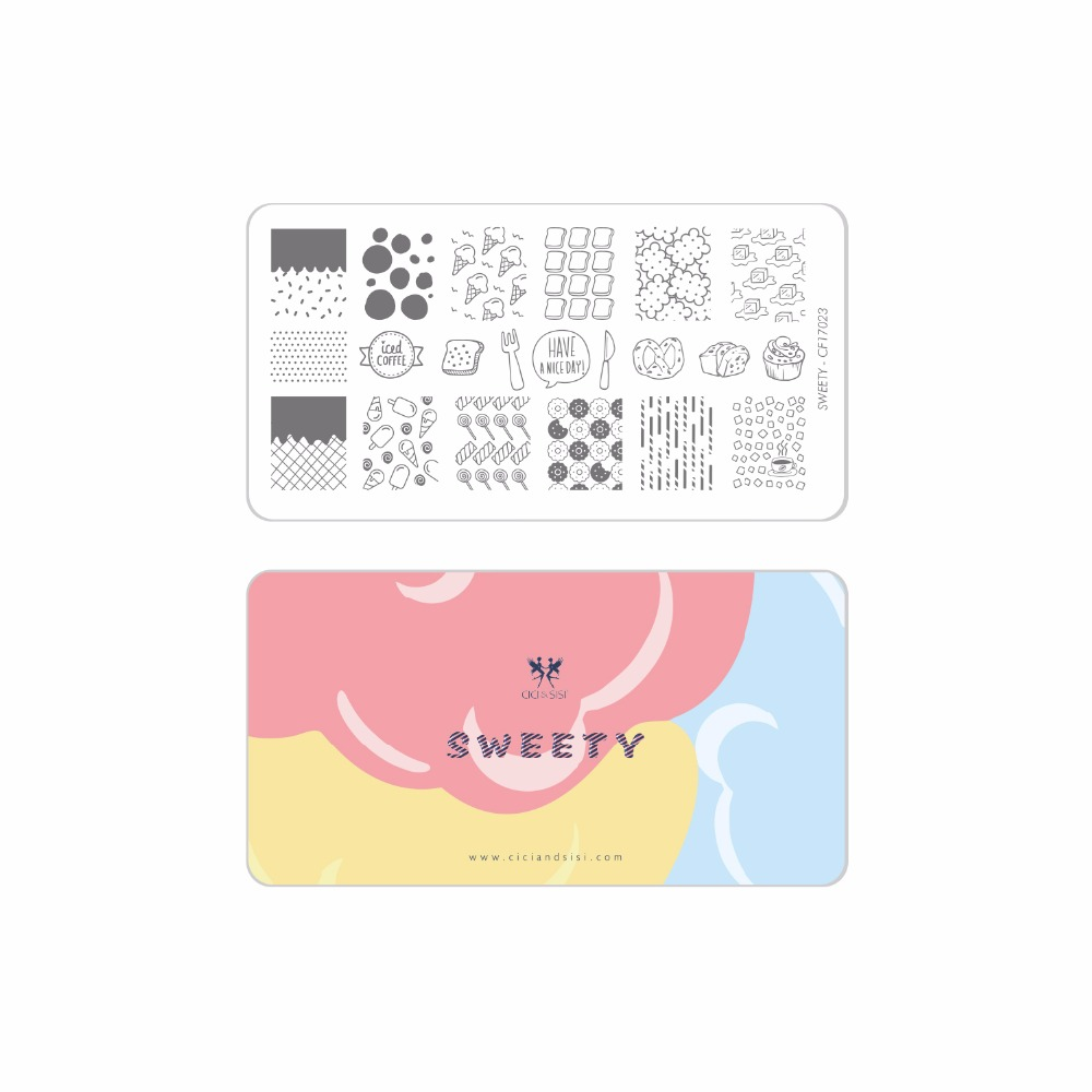 CICI&SISI Acrylic Nail Art Stamping Plate Decorations Konad Stamping Manicure Template Stamp Sweety Series