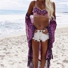 New Arrivals Beach Cover up Floral Romantic Swimwear Ladies Pareo Beach Cape Purple Tassel Beach Dress Chiffon Swimwear #Q149