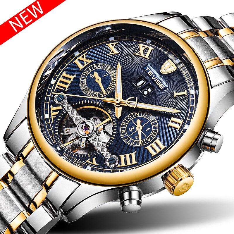 Relogio Automatico Masculino Top Marque TEVISE Nouvelle montre automatique de luxe Hommes Tourbillon montre mécanique Sport horloge militaire