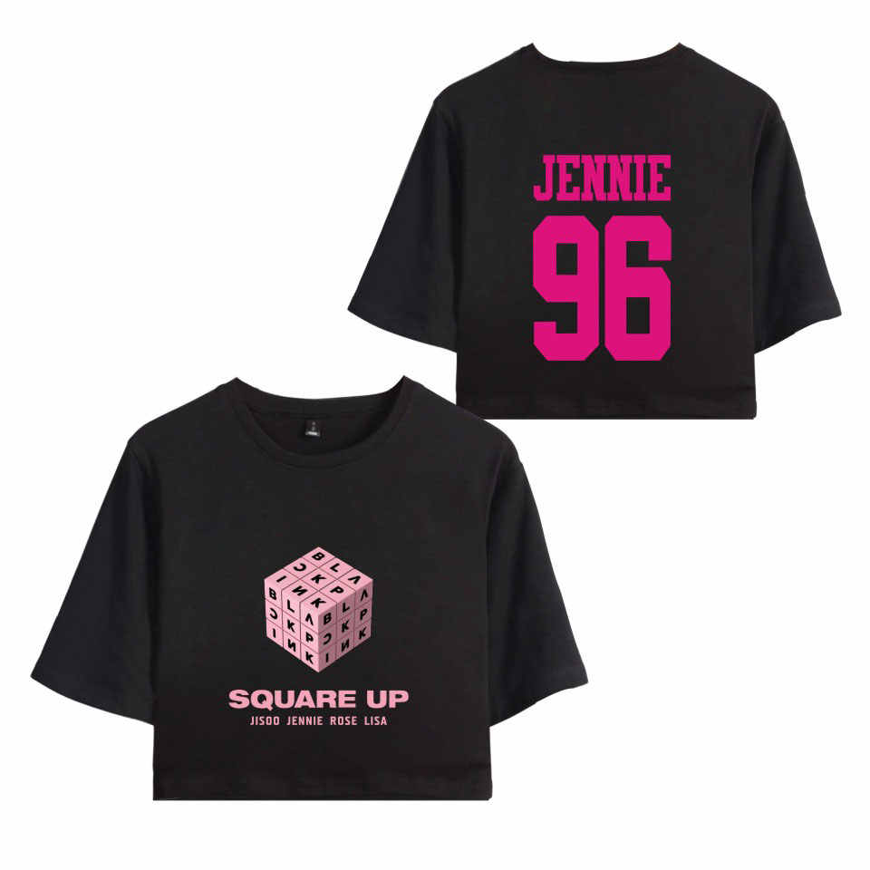 edf09a09 BLACKPINK Square Up Women Exposed Navel T Shirts Girls Short Sleeves O-Neck  Hip Hop