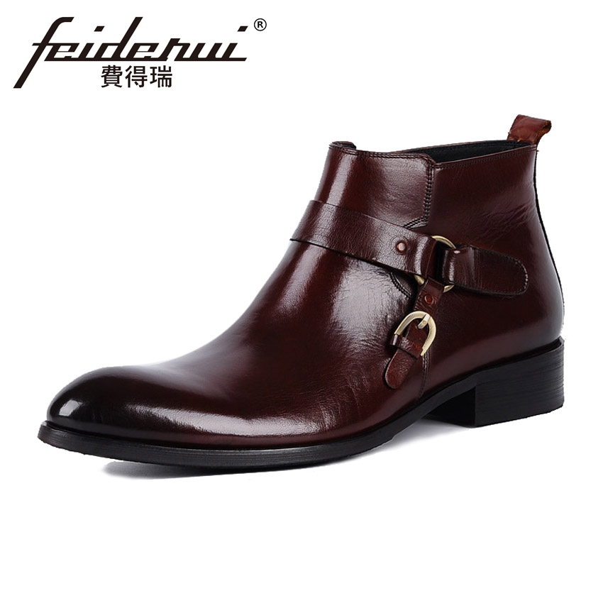 Vintage Brown Black Genuine Leather Men's Martin Ankle Boots Round Toe Heels Handmade Cowboy Formal Dress Shoes For Man YMX10 vintage brown black genuine leather men s martin ankle boots round toe heels handmade cowboy formal dress shoes for man ymx10