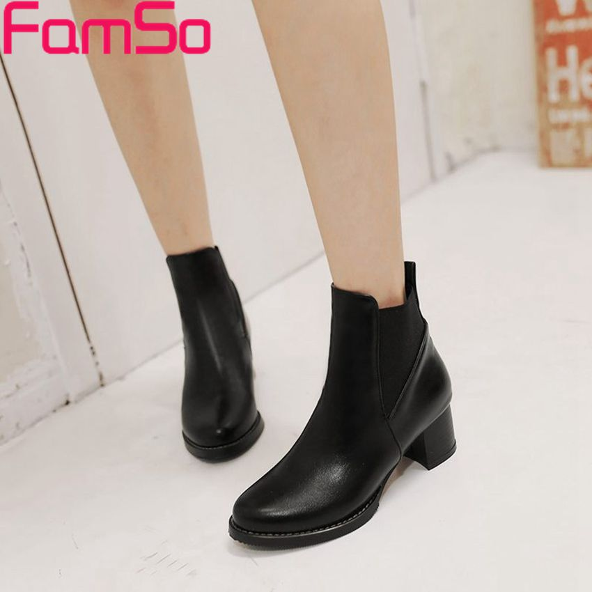 Plus Size34 43 2014 New Sexy font b Women s b font Ankle Boots High Thick