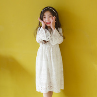 Girls White Lace Dresses Party Wear Ruffle Sleeves Ivory Crochet Princess Dress For Children Age 5678910