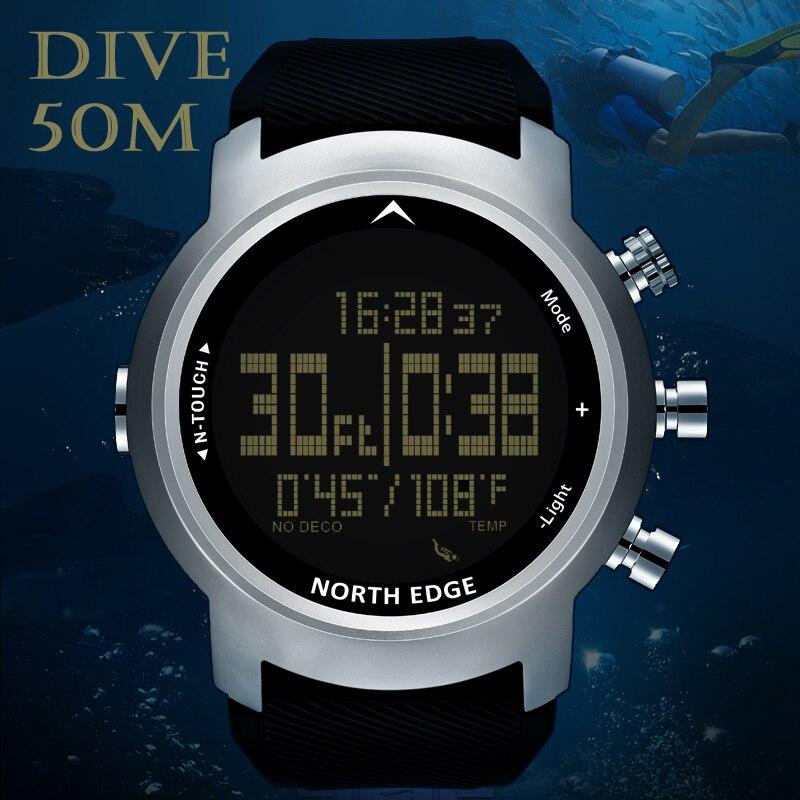 North Edge hommes montre de plongée étanche 100 M montre numérique intelligente Sport armée militaire plongée natation altimètre boussole horloge