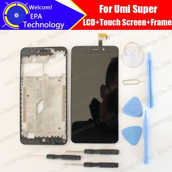 UMI Super LCD Display + Touch Screen Digitizer + Mittleren Rahmen Montage 100% Original Neue LCD + Touch Digitizer für super F 550028X2N