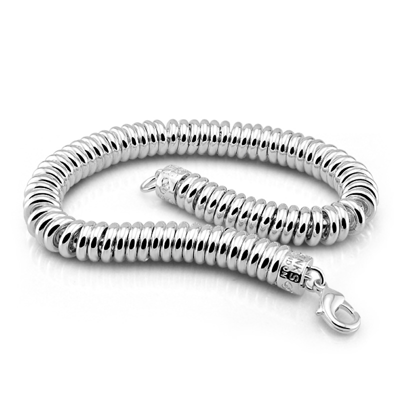 Jewelry & Accessories Bracelets & Bangles Simple Solid 925 Silver 8mm 20cm Snake Chain Bracelet For Woman Glamour Men Silver Jewelry Modest New Fashion Sterling Silver Bracelet
