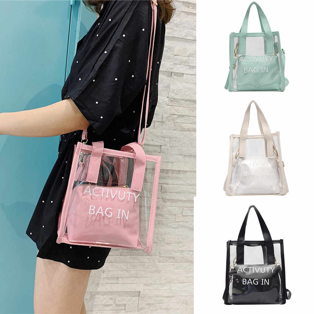 2PC Jelly Package Purse Women Clear Transparent Shoulder Bags Handbags Candy Color Letter Bags 2019 Crossbody Bag For Girls