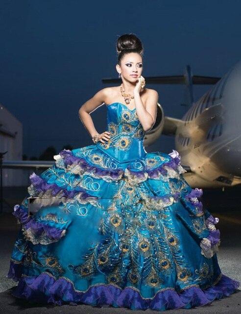 romántico cristales quinceanera vestidos de novia de plumas de pavo