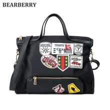 BEARBERR 2017 Canvas Shoulder Bag Street Beat Badge Handbag Ladies Large Capacity Casual Tote Handbag Patch Messenger Bags