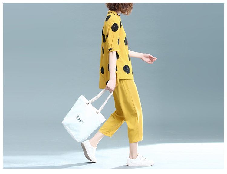 2019 Summer Cotton Linen Two Piece Sets Outfits Women Plus Size Dot Print Shirts And Pants Suits Casual Vintage 2 Piece Sets 36